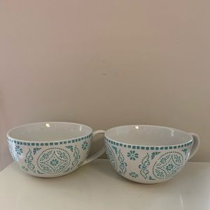 222 Fifth Azra Teal soup cups